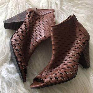 Tesori Woven Brown Leather Peep Toe Zip Back Heels
